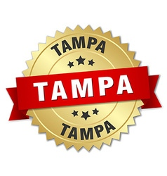 Tampa round golden badge with red ribbon vector
