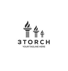three torch logo designs vector image
