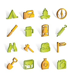 Tourism and hiking icons vector