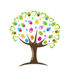 Tree teamwork hearts and hands icon vector