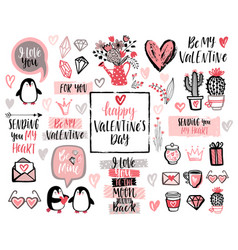Valentines day lettering design set with hand vector