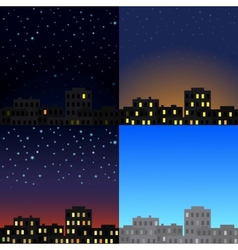 View of the city at different times of day vector