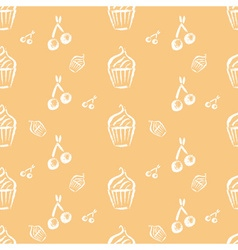 Vintage bakery hand drawn seamless pattern vector image
