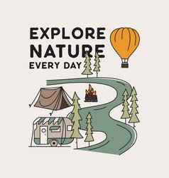 vintage camping adventure badge vector image