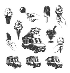 Vintage monochrome ice cream elements set vector