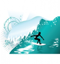 wave surfing vector image