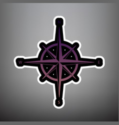wind rose sign violet gradient icon with vector image