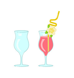 Wineglass and exotic cocktail vector
