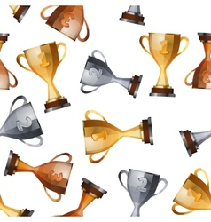 winners cups on white background seamless pattern vector image