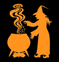 witch pot black vector image