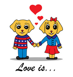 with loving couple of dogs vector image