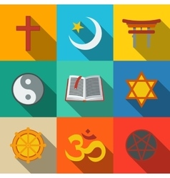 World religion symbols flat set - christian vector image