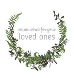 Wreath with herbs and leaves isolated on white vector
