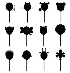 balloons set in black vector image