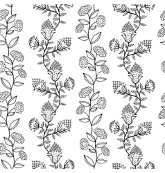 black and white seamless pattern with flowers vector image