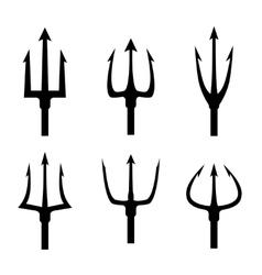 Black trident silhouette set vector image