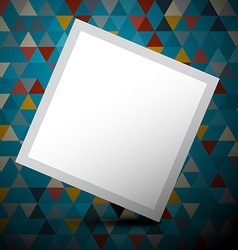 Blue Triangles Background with Empty White Paper vector image vector image
