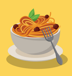 Bowl spaghetti and meatballs sauce food fresh vector