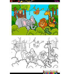 cartoon wild animal characters coloring book vector image vector image