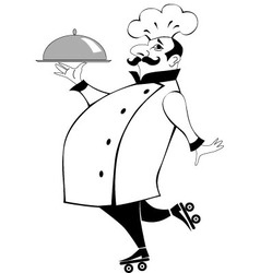 Chef on roller skates vector image