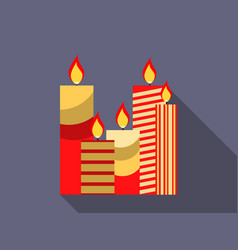 Christmas candles in a flat design vector