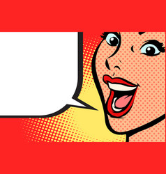 close-up pop art woman face smile vector image vector image