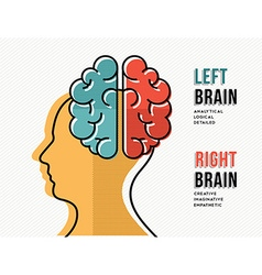 Left and right brain concept with head silhouette vector