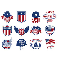 memorial day set of emblems with american flag vector image vector image