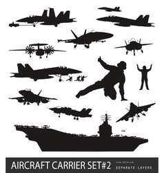 Naval aviation silhouettes vector