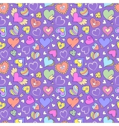 seamless pattern with hearts and other elements vector image vector image