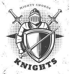 vintage monochrome knights template vector image vector image