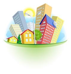 abstract cartoon city vector image vector image