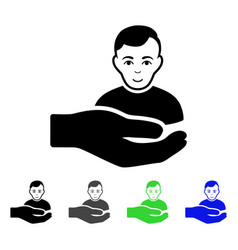 customer support hand flat icon vector image vector image