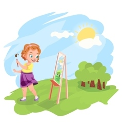 Girl painting outdoors vector image vector image