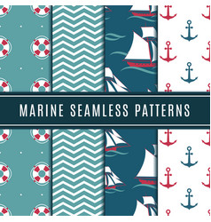 nautical seamless patterns for kids marine vector image