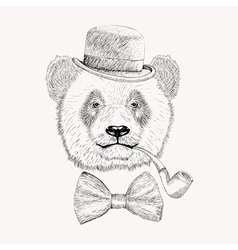 Sketch panda face with black bowler hat bow tie vector image vector image