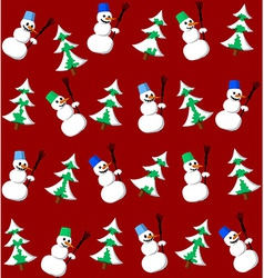 Snowman and fir seamless pattern vector image vector image