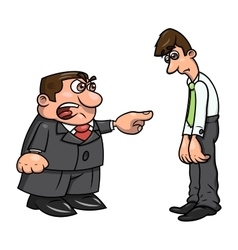 Boss screaming at clerk 2 vector image vector image