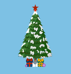 christmas tree with gifts and red star vector image vector image