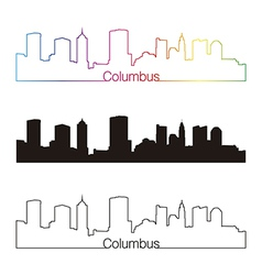 Columbus skyline linear style with rainbow vector image vector image