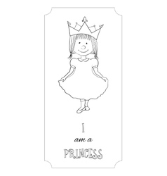 Kid cartoon princess outline card for coloring vector image vector image