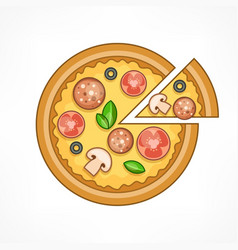 pizza on white vector image vector image