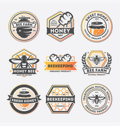 sweet honey vintage isolated label set vector image vector image