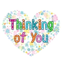 Thinking of you typography lettering card vector image vector image