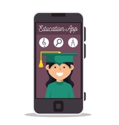 girl app education online smartphone design vector image