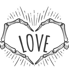 skeleton hand love sign on white vector image