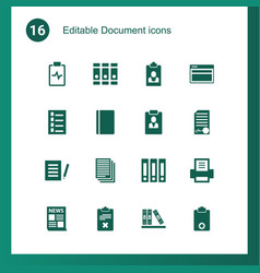 16 document icons vector image