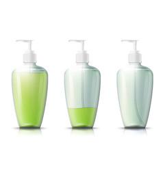 3d realistic pump bottle with liquid gel vector