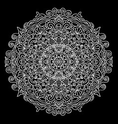 abstract mandala ornament isolated on black vector image