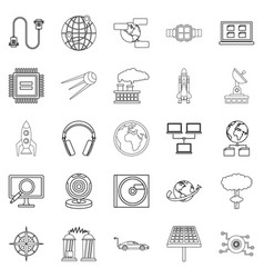 Advanced world icons set outline style vector